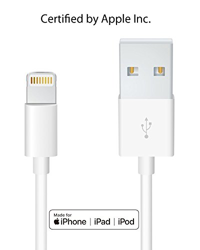 Heardear Lightning to USB Cable[Apple MFi Certified]iPhone/iPad charging/charger Cable/Cord/Line for iPhone X/8/7/SE/6s/6/plus/5s/5c,iPad Pro/Air/Mini,iPod touch,Nano(White 3.33FT)Certified by Apple