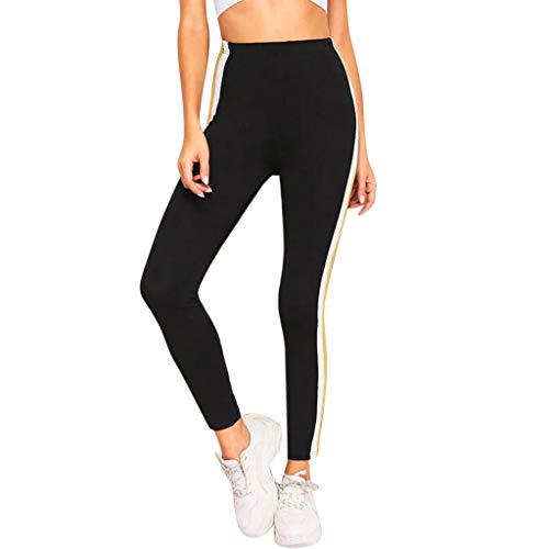 (Sttech1 Women's Running Strips Tight Leggings Yoga Pants Black)
