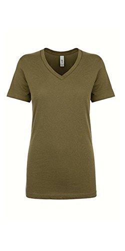 Next Level Women's Lightweight V-Neck Jersey T-Shirt, X-Large, Military Green