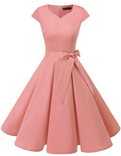 Dresstells Vintage 1950s Solid Color Prom Dresses Cap Sleeve Retro Swing Dress Blush ()