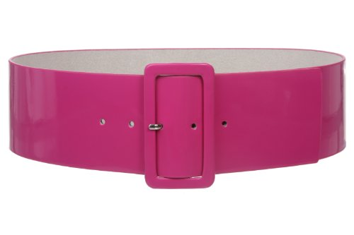 Ladies High Waist Patent Leather Wide Fashion Square Belt, Hot Pink | M/L - 36 ()