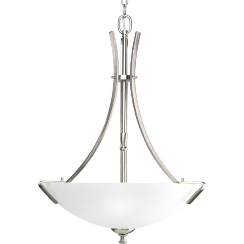Rectangular Nickel Chandelier (Progress Lighting P3757-09 3-Light Inverted Pendant/Foyer with Etched Glass and Arching Rectangular Arms with Strap Accents, Brushed Nickel)