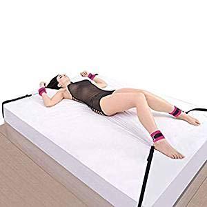 Bed Rêštráint Kit for Couples B`D`S-M Game Play Bōňdägéromance Rêštráinting Adjustable Straps Fur Tie up Hàňscùffs Soft Wrist and Ankle Cuffs