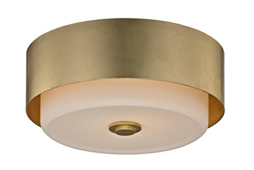 Gold Classic Flush Mount (Troy Lighting C5661 Allure 2-Light Round Ceiling Flush Mount Opal White Glass Shade, Gold Leaf)