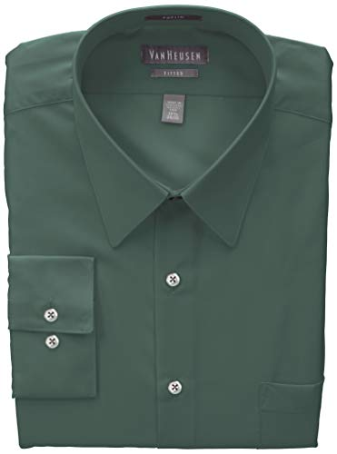 Fitted Leaf - Van Heusen Men's Poplin Fitted Solid Point Collar Dress Shirt, Dark Leaf, 16.5