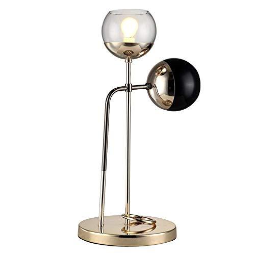 A-Lnice Lámpara de mesa Bola de cristal Sombra Base de hierro ...