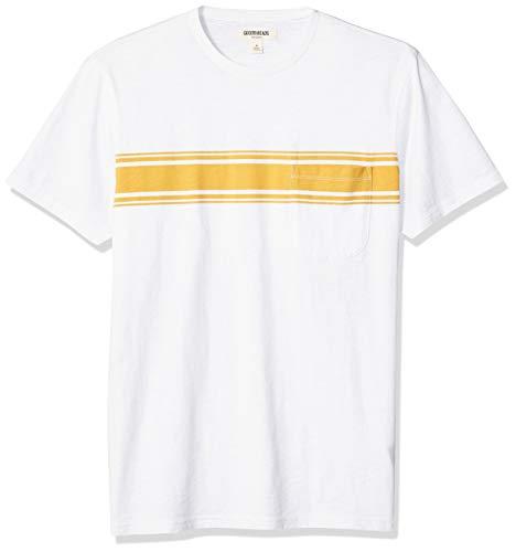 Goodthreads Men's Slub Placed-Stripe Crewneck T-Shirt, Yellow, Small