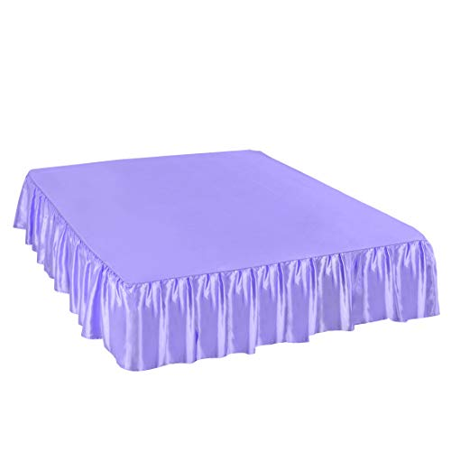 (PiccoCasa Satin Silk Bed Skirt 300 Thread-Count Dust Ruffle with 14 Inch Drop - Light Purple, Twin Size: 39 x 75 Inch)