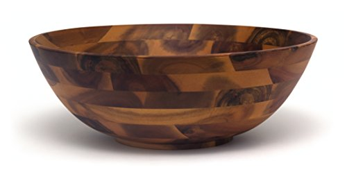 Lipper International 1184 Acacia Footed Round Flared Serving Bowl for Fruits or Salads, Large, 13.75