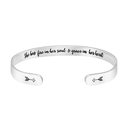 Joycuff She has fire in her Soul and Grace in her Heart Inspirational Bracelet for Girls Motivational Graduation Jewelry for Her ()