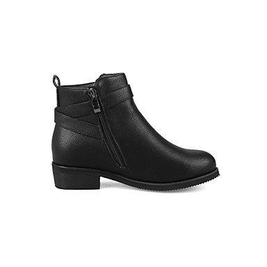 1 Women's Comfort Black Boots amp;xuezi Casual Leatherette Fall Buckle 1in Almond Chunky 4in Zipper Dress Bootie Heel 3 Winter Gll Black White Ut5qxx