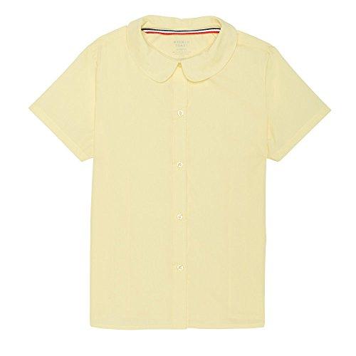 French Toast Big Girls' Short Sleeve Peter Pan Collar Blouse, Yellow, (Poplin Short Sleeve Blouse)