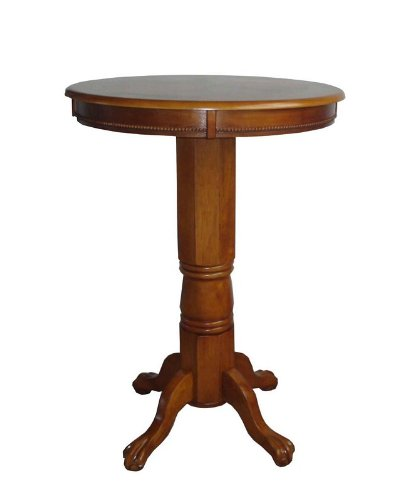 Hardwood Pedestal Pub Table with Brush Oak Finish