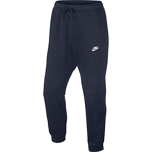 Men's Nike Sportswear Club Jogger Sweatpant, Fleece Joggers for Men with and Pockets, Obsidian/White, L