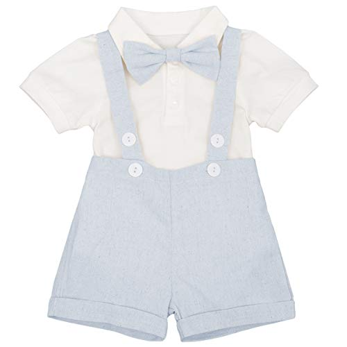 Newborn Baby Boys Formal Suit Gentleman Tuxedo Outfit Bow tie Romper Jumpsuit Overalls Suspenders Cotton Birthday Cake Smash Short Sleeve T Shirt Wedding Christening Bib Pants Clothes Blue 12-18 M