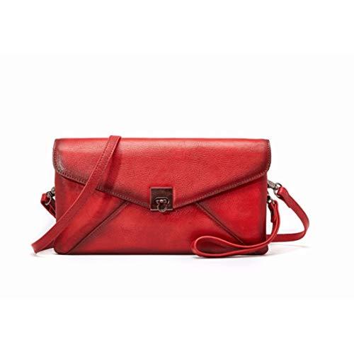 Del Taleguillas Mujeres Hombro color Bolso Las Cuero Crossbody Jiuyizhe Red Red Para Genuino El De Carteras POtxqOnw78
