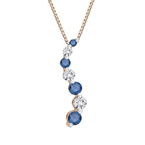 Diamond Journey Curve Necklace (Blue and White Diamond