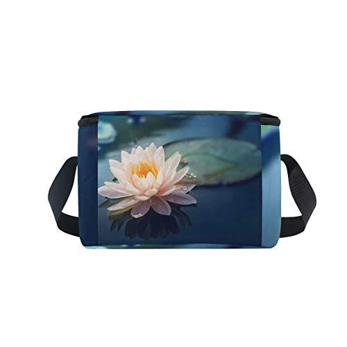 enfriador de picnic fiambrera de estanque almuerzo hermosa loto en para flor Bolsa hombro correa de Sp8wdcqS