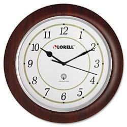 Mahogany Wood Frame Wall Clock (Lorell Wall Clock with Arabic Numerals, 13-1/2-Inch, White)