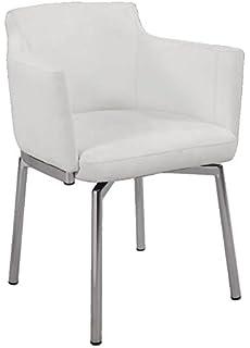 Milan Denise Club Style Swivel Arm Chair (Set Of 2), White