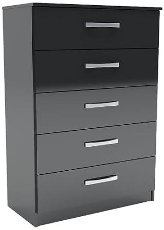 birlea lynx 5 drawer chest high gloss black amazon co uk