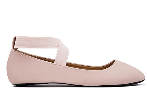 - Charles Albert Dana Women's Ballerina Flats with Elastic Crossing Straps (8, Blush)