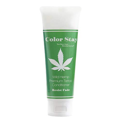 (PREMIUM TATTOO AFTERCARE LOTION - COLOR STAY - Conditioner Moisturizer, Organic Shea, Cocoa and Mango Butters and Hempseed Oil, 4 oz. (Wild Hemp) - Piper Cove)