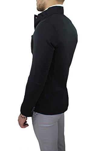 Colletto Uomo Made Sartoriale Coreana Con Alla Cotone 100 Blazer Italy Giacca Nera In vdwf5qvx0