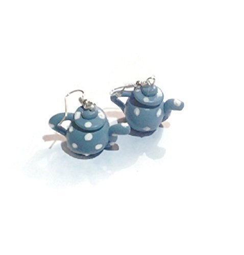 Cute Blue Polka Dot Teapot Earrings