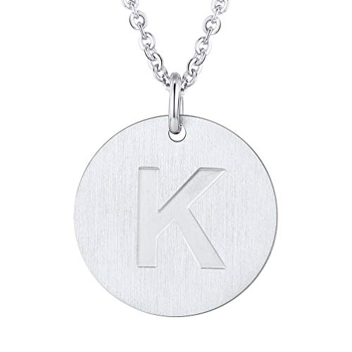 PROSTEEL Initial Letter Necklaces Stainless Steel Monogram Alphabet K Minimalist Bridesmaid Personalized Jewelry Gift Men Women Coin Necklace