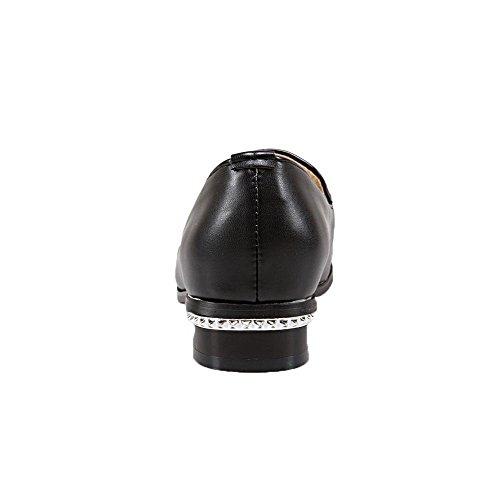 VogueZone009 Damen Quadratisch Zehe PU Gemischte Farbe Ziehen auf Pumps Schuhe Schwarz