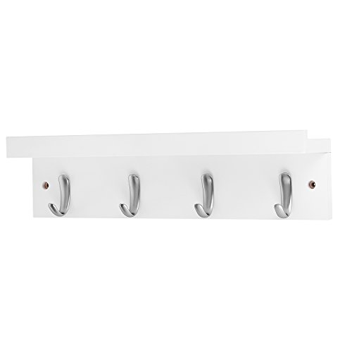DOKEHOM 4-Satin Nickel Hooks (4 Colors) on Wooden Board with Shelf Coat Rack Hanger, Mail Box Packing (White) (With Wall Shelf Hooks White)