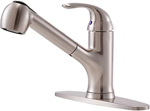Hotis Modern Brushed Nickel Stainless Steel Single Handle Pull Out Sprayer Kitchen Faucet Kitchen Sink Faucets Brushed Nickel