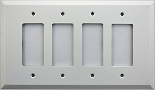 - Over Sized Jumbo Smooth White Stamped Steel 4 Gang Wall Plate - 4 GFI/Rocker Opening