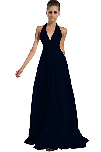 Talinadress Des Femmes De Longue Licol En Mousseline De Soie Robe De Bal Robe De Demoiselle D'honneur Cou V E276lf Bleu Marine