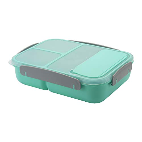 Freshmage Lunch Box Containers for Kids, Adult, Food Meal Prep Containers Leak-proof with 3 Compartments Dividers and Spoon BPA Free - Green