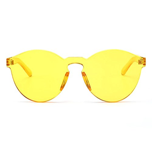 Armear Oversized One Piece Rimless Tinted Sunglasses Clear Colored Lenses (Yellow, - Yellow With