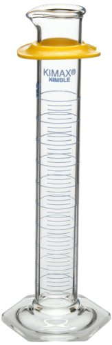 Kimax 20025-100 Glass Class B Single Blue Metric Scale Graduated Cylinder with Bumper, 100mL Capacity, 5 - 100mL Graduation Interval (Case of 24) by Kimax