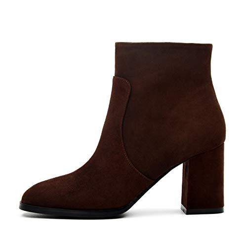 Oleptro Trusts Boots Genuine Leather Women Natural Suede Leather Ankle Boots for Women Fashion Square Toe Thick High Heel Ladies Shoes