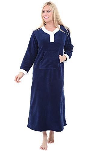 - Alexander Del Rossa Womens Full Length Fleece Kaftan, Pullover Nightgown with Pockets, Small Navy Blue (A0297NBLSM)