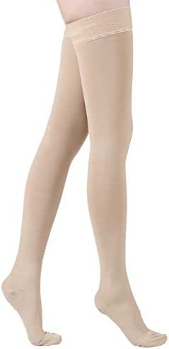 KEKING Thigh High Compression Stockings, Firm Support 20-30mmHg with Anti-Slip Silicone Band. Graduated Compression Socks, Opaque, Treatment Swelling, Varicose Veins, Edema, Pregnancy