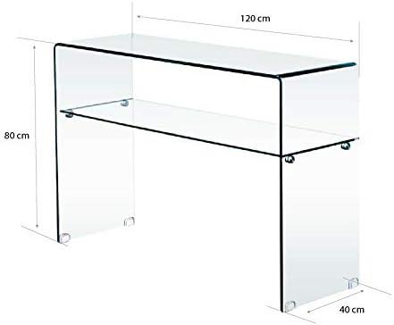Luxury Z-11 S 120 x 75 x 40 cm Trasparente Bricozone Tavolino in Vetro Consolle con Ripiano da Salotto Cucina Ingresso Sala da Pranzo Ufficio