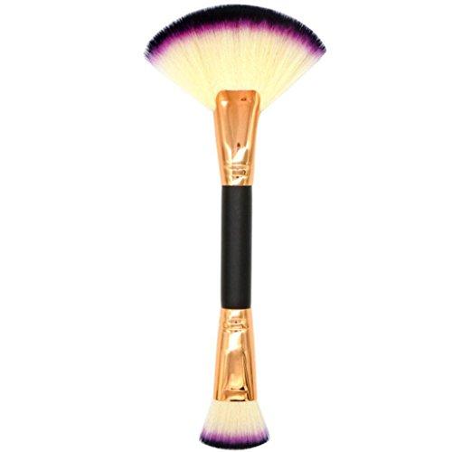 Yeefant 1PCS Portable Make Up Foundation Eyebrow Eyeliner Blush Cosmetic Concealer Single Makeup Double Head Fan Shape Foundation Brushes,Beige (Adhesive Round Foam Dual)