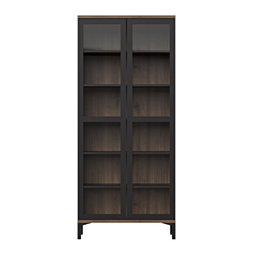 - Tvilum 9217686dj Aberdeen 2 Door China Cabinet, Black/Walnut