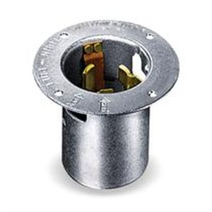 50A Flanged Locking Inlet 3P 4W 250VAC BK