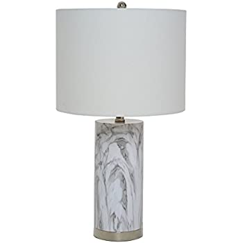 Catalina Lighting 20640-000 Amalfi Table Lamp with White Linen Drum Shade Medium Faux Marble