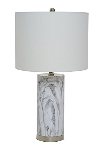 Catalina Lighting 20640-000 Amalfi Table Lamp with White Linen Drum Shade, Medium, Faux Marble (Lamp Bases Marble)