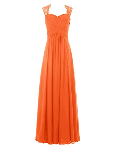 Longues Robes De Demoiselle D'honneur Bess Femmes De Mariée En Dentelle Robes De Soirée Formelle En Mousseline De Soie Orange,