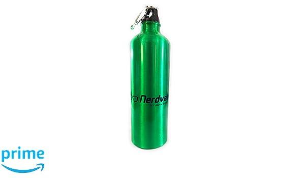 Nerdvana Aluminum Water Bottle with Carabiner Clip 25 OZ Silver Green