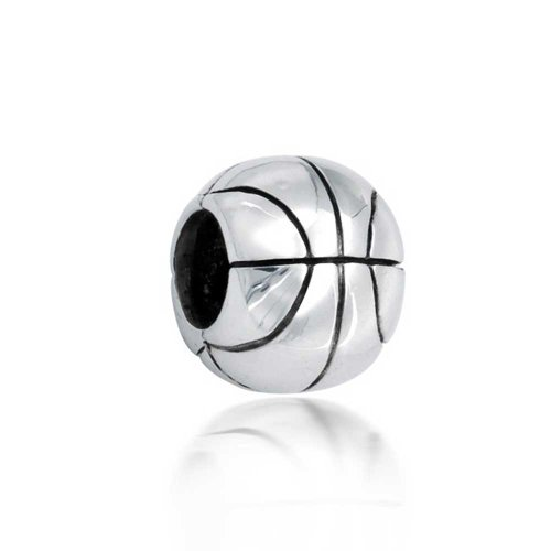 Bling Jewelry Two Tone Basketball Bead Charm .925 Sterling Silver (Sterling Basketballs Silver Bracelet)